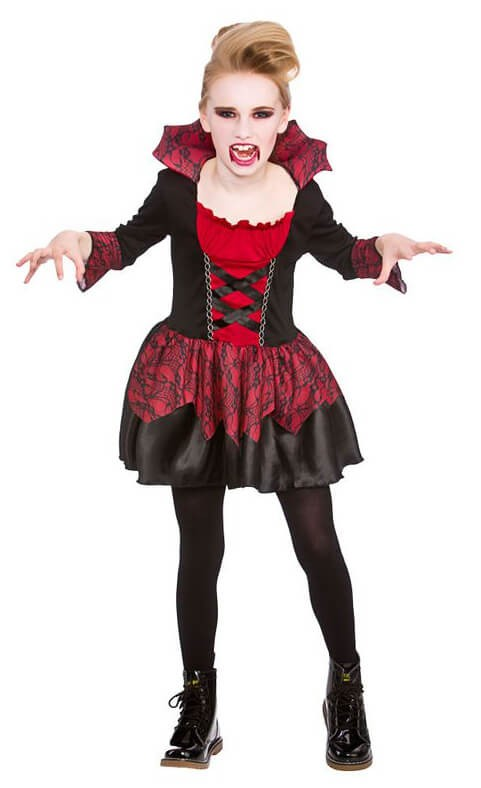 Girls Little Vampiress Halloween Fancy Dress Costume