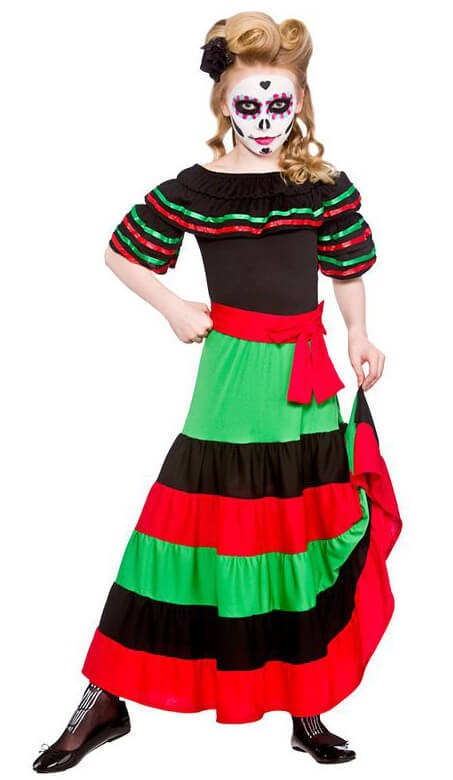 Girls Day Of The Dead Senorita Halloween Fancy Dress Costume
