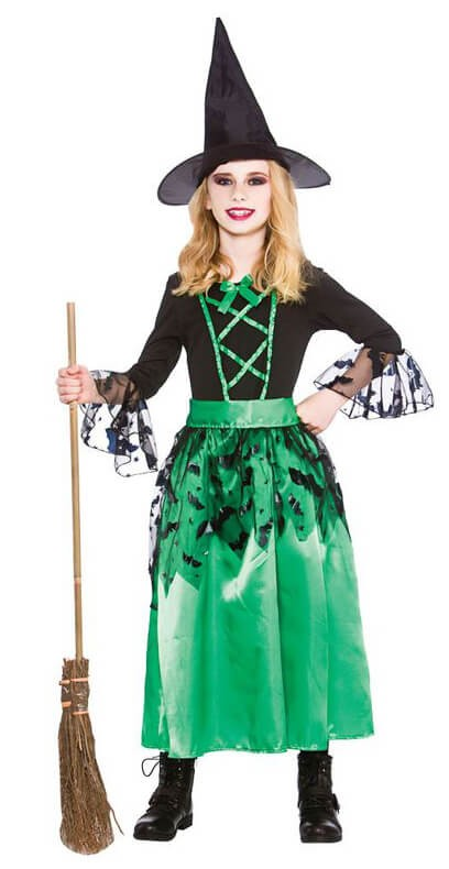Girls Green Spellcaster Witch Halloween Fancy Dress Costume
