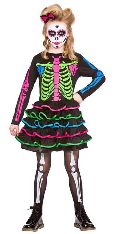 Girls Sweet Skully Halloween Fancy Dress Costume