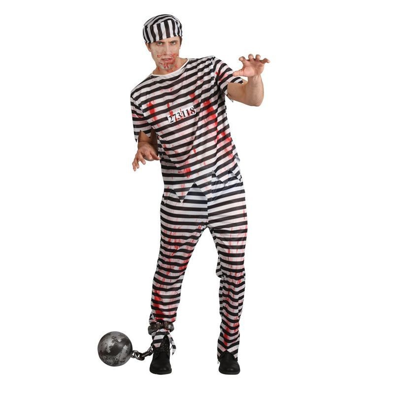 Mens Zombie Convict Cops/Robbers Outfit (Black, White)