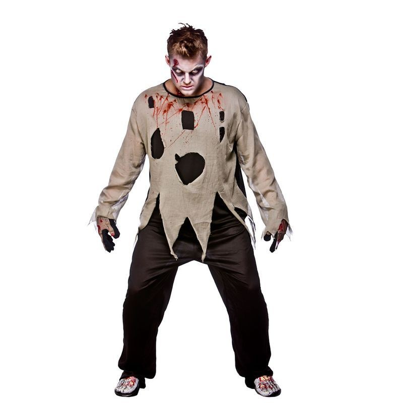 Mens Gruesome Zombie Shirt Halloween Outfit -  (Grey)