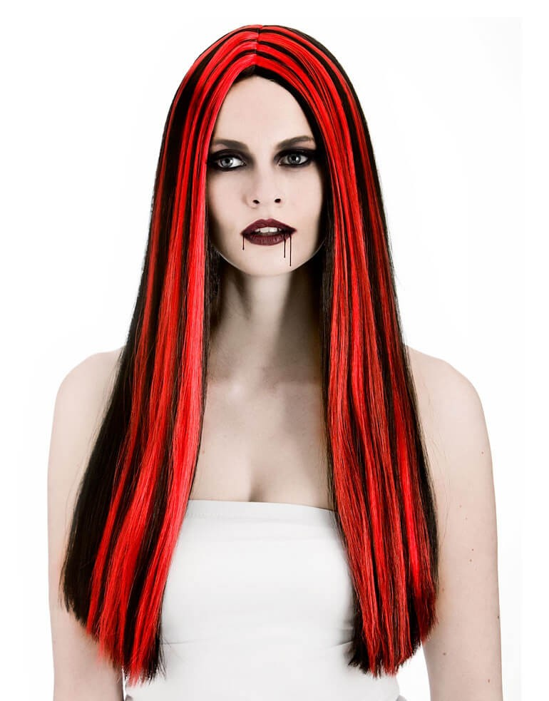 Ladies Black/Red Vampiress Wig Halloween Fancy Dress Accessory