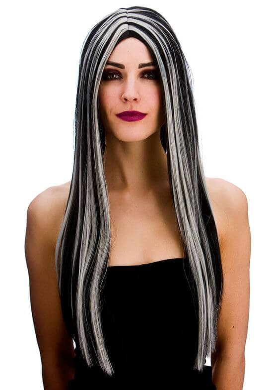 Ladies Bewitched Witch Black/Silver Wig Halloween Fancy Dress Accessory