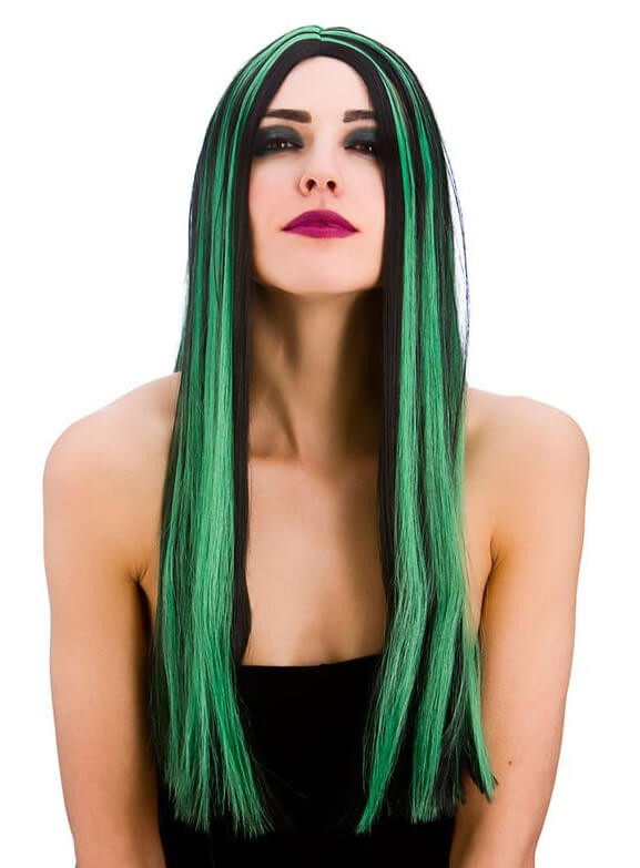 Ladies Bewitched Witch Black/Green Wig Halloween Fancy Dress Accessory