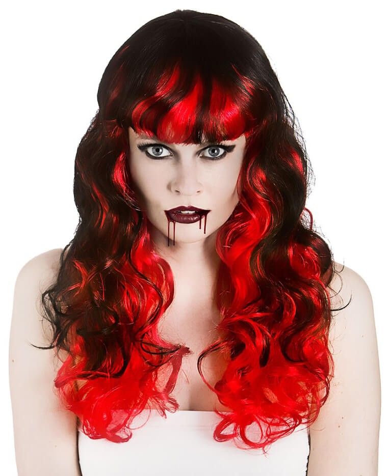 Ladies Black/Red Vampiress Wig (Curly) Halloween Fancy Dress Accessory