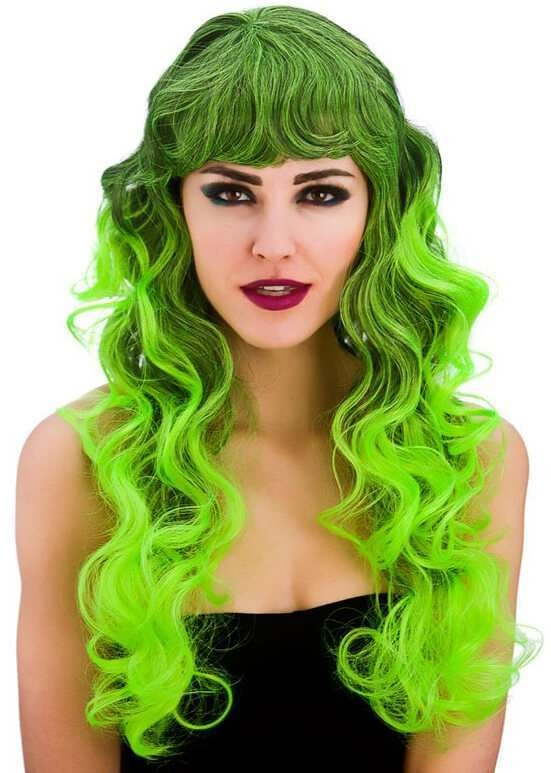 Ladies Black/Green Spellbound Wig (Curly) Halloween Fancy Dress Accessory