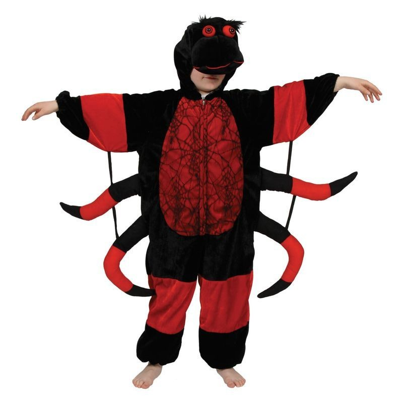 Childs All In One Red Spider Halloween Onesie Costume