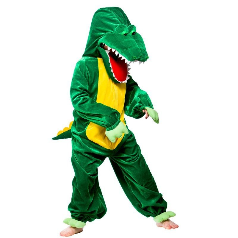Kids Unisex Crocodile With Open Mouth Animal Outfit - (Green)