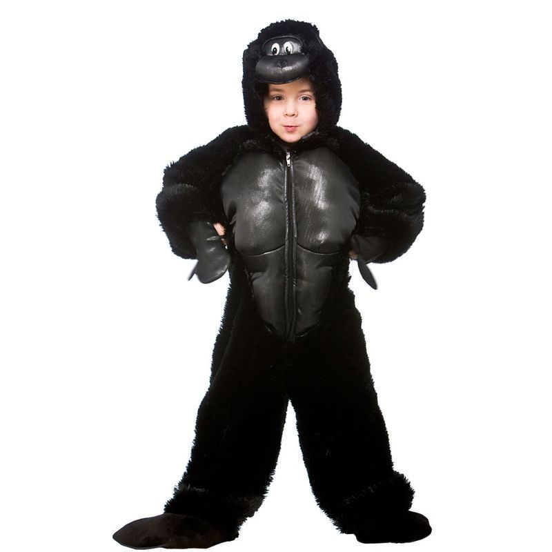 Childs Unisex Childrens Gorilla Jumpsuit Animal Outfit (Black)