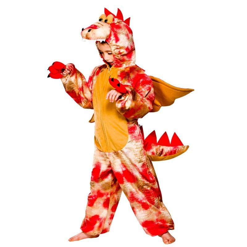 Childs Unisex Red Dinosaur Animal Outfit - (Red)