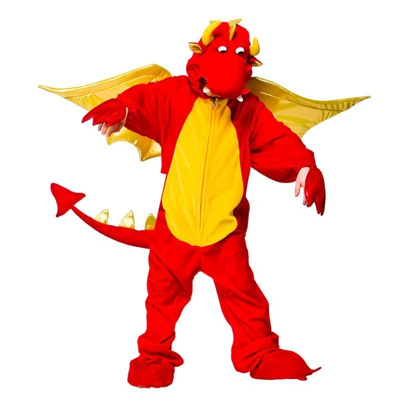 Childs Unisex Fire Breathing Dragon Animal Outfit - (Red, Yellow)