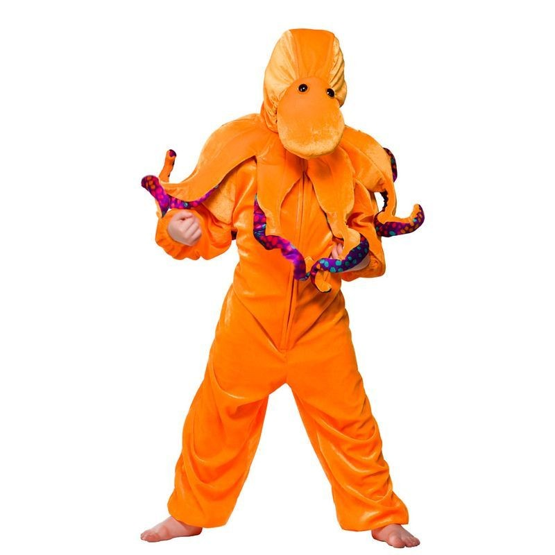 Child Unisex Octopus Animal Outfit - (Orange)