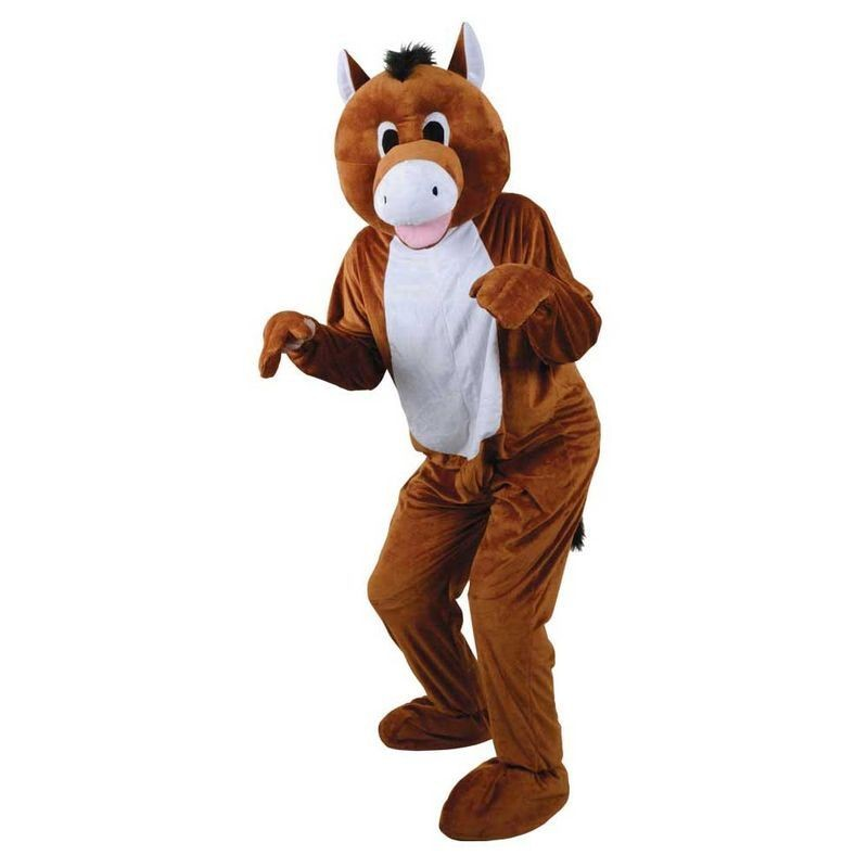 Adult Unisex Mascots - Derby Horse Animal Outfit - One Size (Brown)
