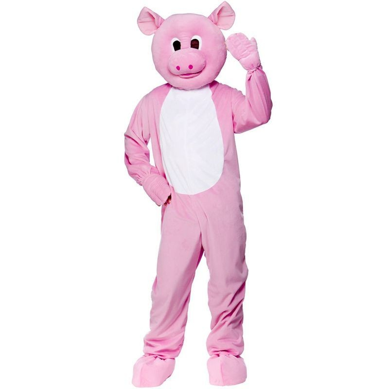 Adult Unisex Mascot - Piggy Animal Outfit - One Size (Pink)