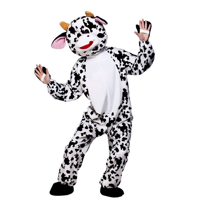 Adult Unisex Mascot - Cow Animal Outfit - One Size (Black, White)