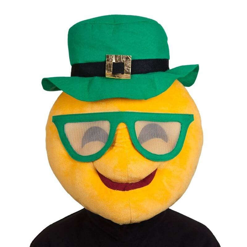 Adults St Patricks Cool Face Head/Mask Emoticon Fancy Dress Accessory