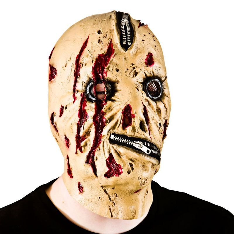 Adult Unisex Zipper Face Zombie Masks - (White)