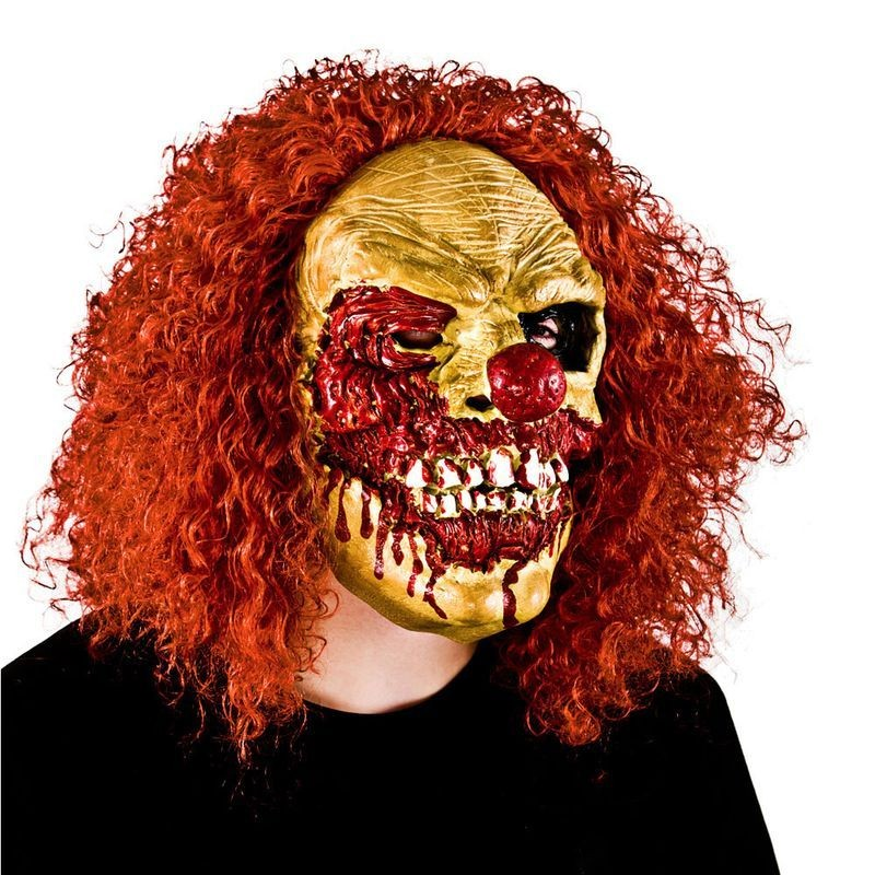 Adult Unisex Clown Zombie With Hair Masks - (Red)
