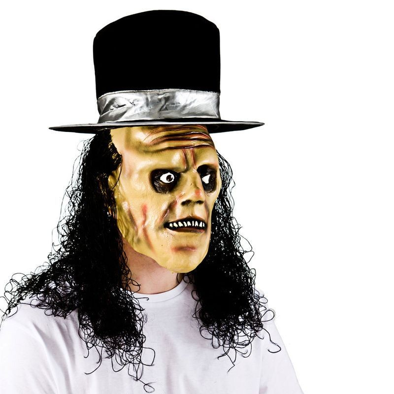 Adult Unisex Creepy Undertaker With  Hair & Hat Masks - (Black)