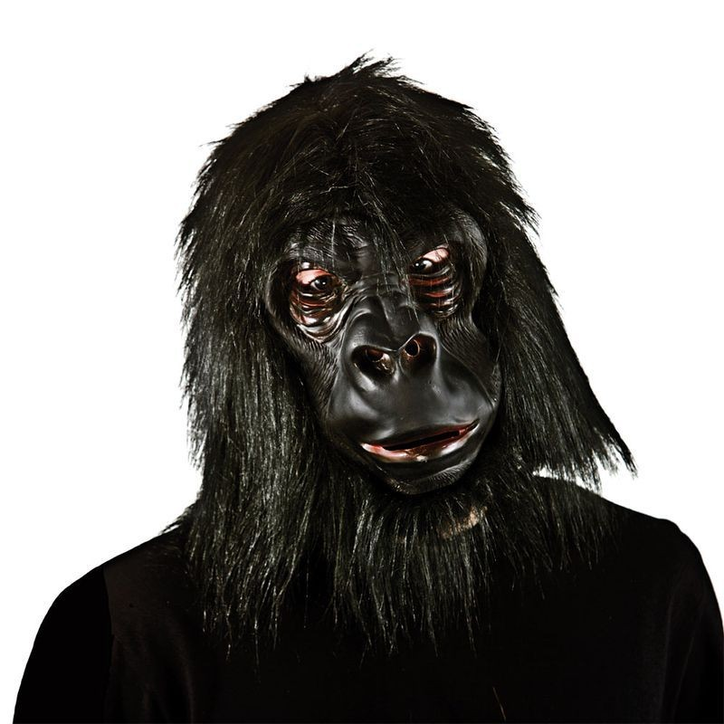 Adult Unisex Realistic Gorilla With Hair Masks - (Black)