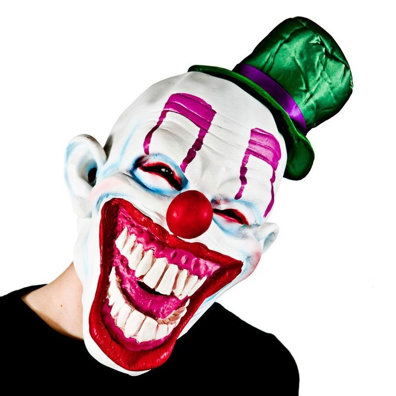 Adult Unisex Cheesy Clown With Hat Masks - (White, Green)