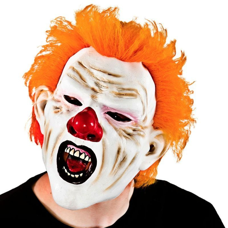 Adult Unisex Freeky Ginger Clown With Hair Masks - (Orange)