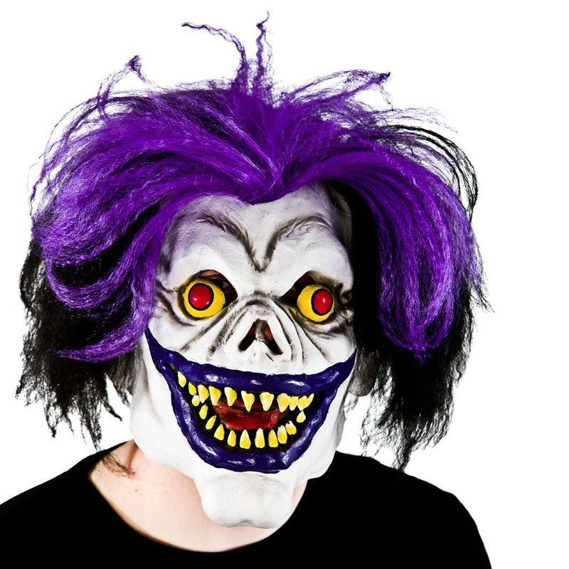 Adult Unisex Scary Big Mouth Clown With Hair Masks - (Purple)