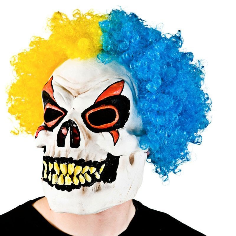 Adult Unisex Skeleton Clown With Hair Masks - (Yellow, Blue)