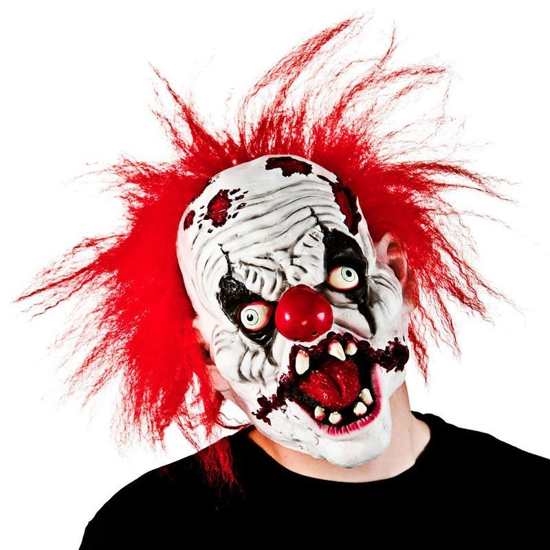 Adult Unisex Zombie Clown With Hair Masks - (Red)