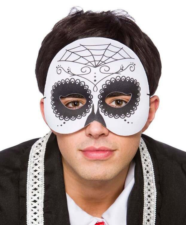 Mens Day Of The Dead Half Face Mask Halloween Fancy Dress Accessory
