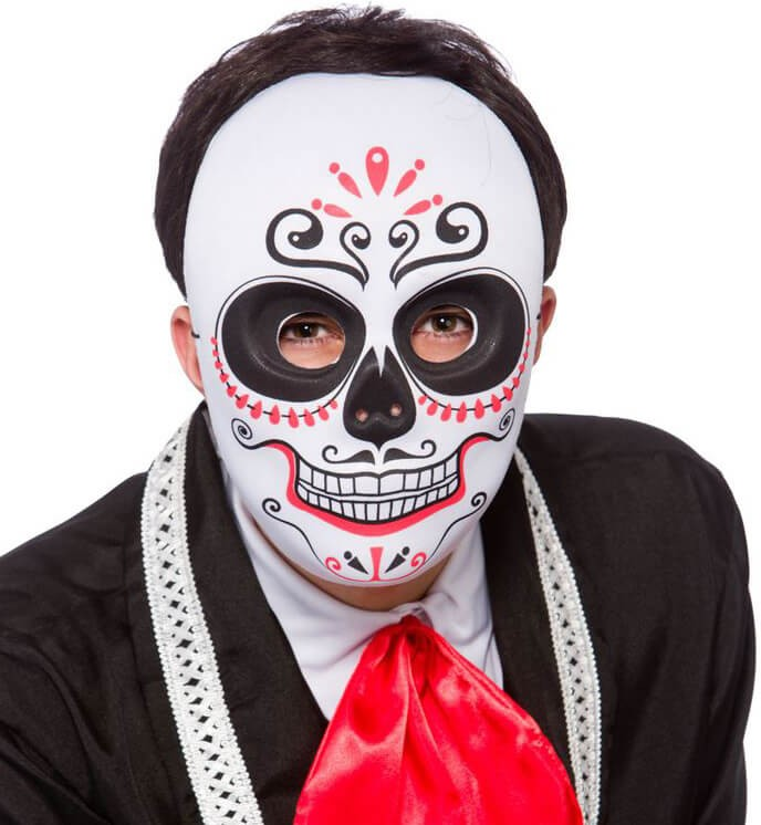 Mens Day Of The Dead Full Face Mask Halloween Fancy Dress Accessory