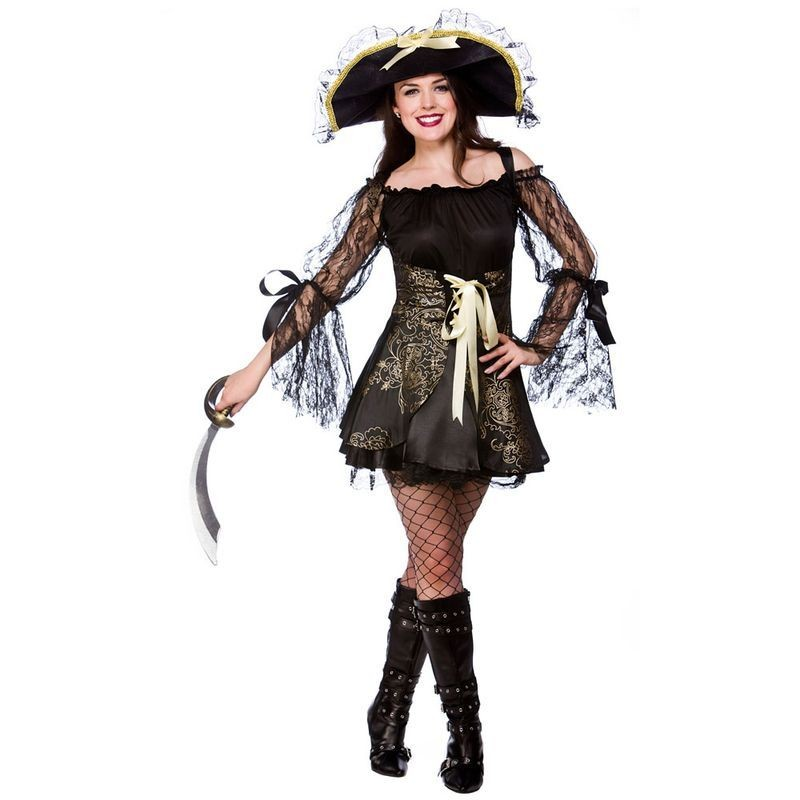 Ladies Pirates Treasure Pirates Outfit - (Black)