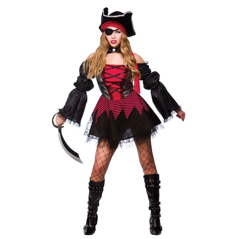 Ladies Sexy Swashbuckler Pirates Outfit - (Red, Black)