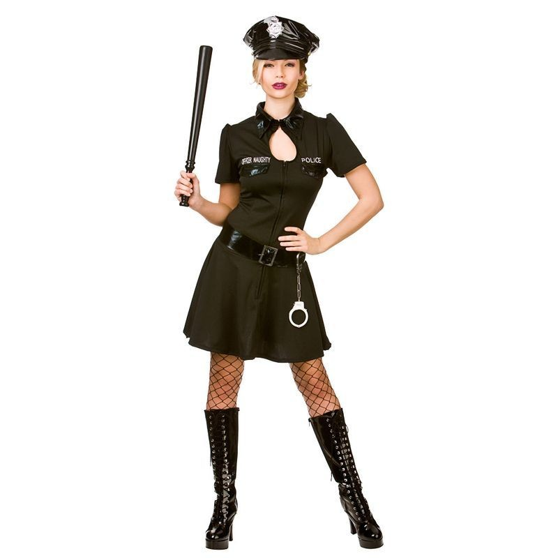 Ladies Sexy Black Naughty Police Officer Fancy Dress Costume