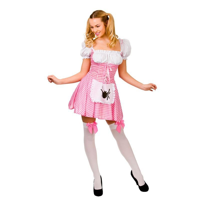 Ladies Sexy Pink Little Miss Muffet Fancy Dress Costume