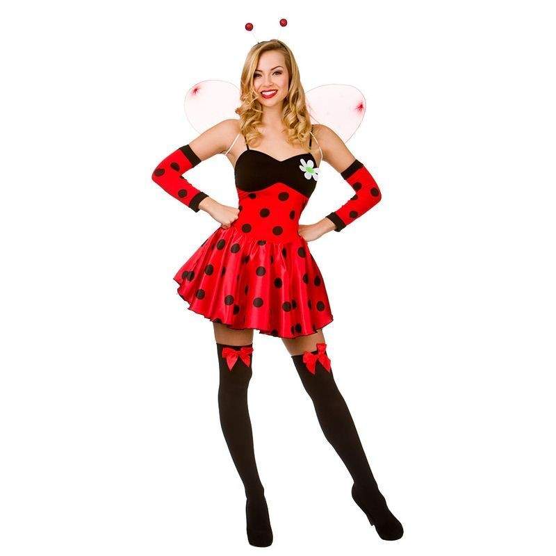 Ladies Red And Black Luscious Lii' Ladybug Fancy Dress Costume