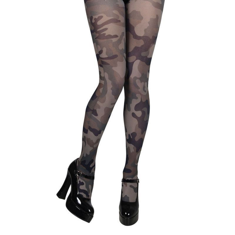Army Camoflage Tights - Fancy Dress Ladies (Army)