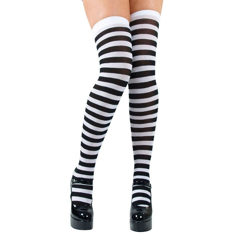 Candystripe Thigh Highs / Black And White - Fancy Dress