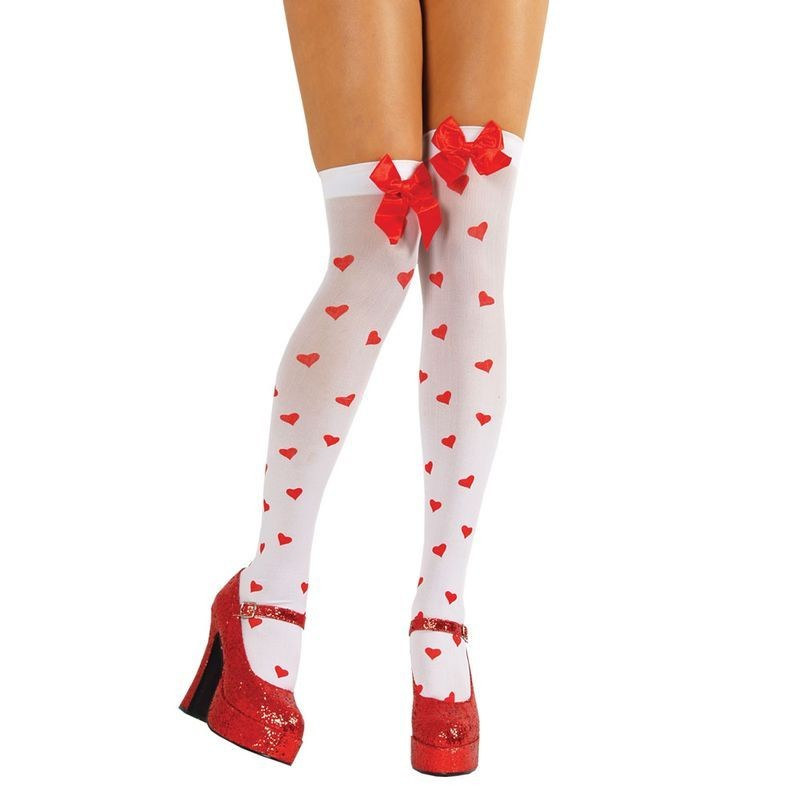 Heart Thigh Highs With Bow - Fancy Dress Ladies