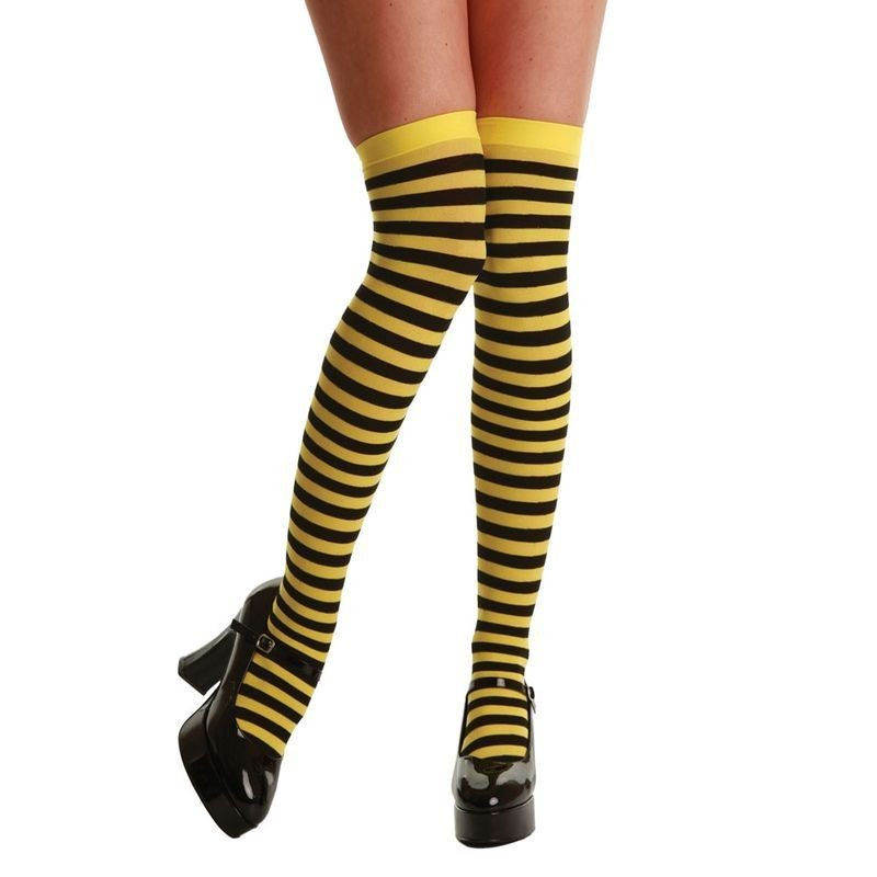 Thigh Highs / Yellow And Black Stripe - Fancy Dress