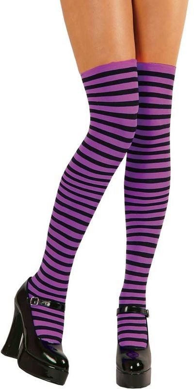 Thigh Highs Purple & Black Candystripe Fancy Dress