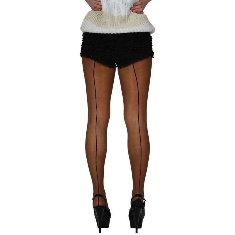 15D Tights With Back Seam - Natural Fancy Dress