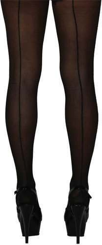 15D Tights With Back Seam - Black Fancy Dress