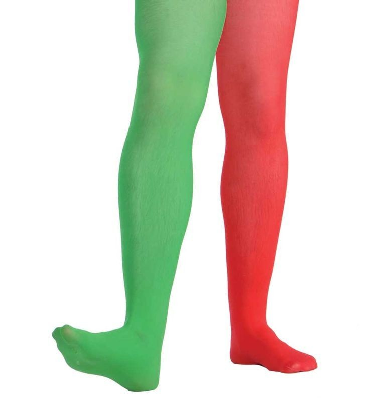 Jester Tights Red & Green - Male Size Fancy Dress