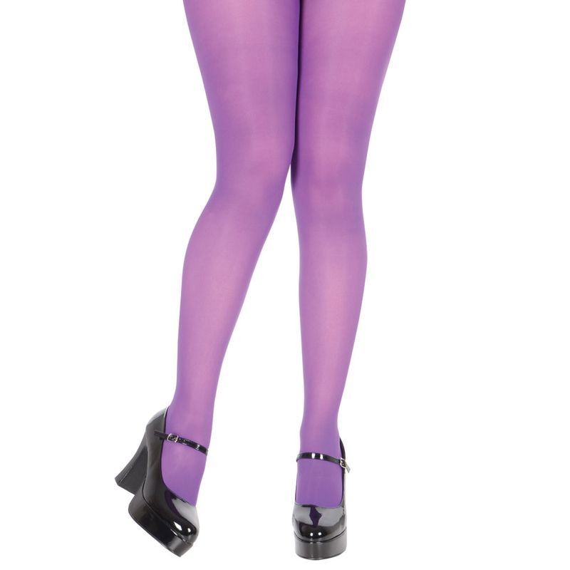 Ladies Purple Opaque Tights Tights - (Purple)