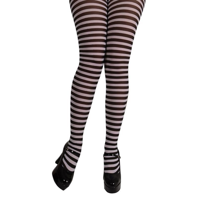 Ladies Black & White Candy stripe Tights Tights - (Black, White)