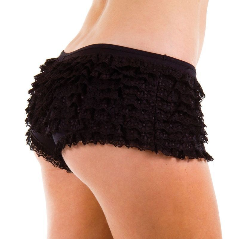 9 Layer Ruffle Shorts- Black - Fancy Dress Ladies
