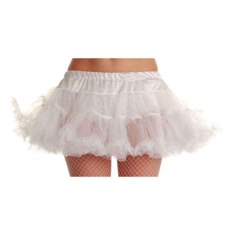 "12"" Ruffle Tutu - White - Fancy Dress Ladies"