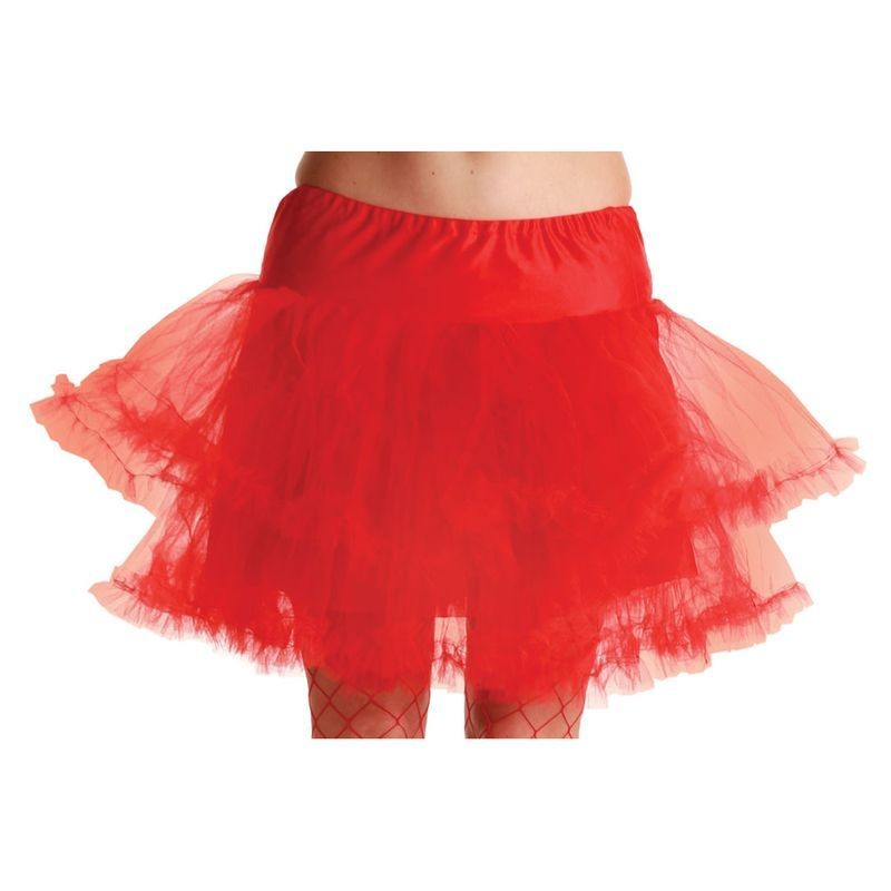 3 Layer Ruffle Petticoat-Red - Fancy Dress Ladies